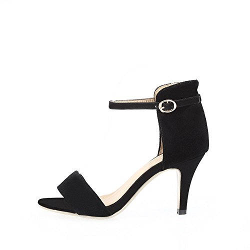 AmoonyFashion Stiletto Toe Cow Womens Black High Sandals Assorted with Leather Frosted Open Heel Buckle Colors rwdqrYFXE