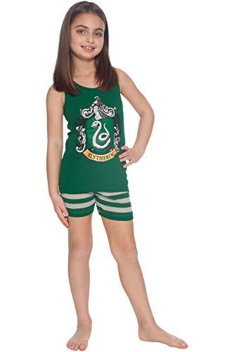 Harry Potter Girls' Big Slytherin House Crest Cotton Tank Top Pajama Short Set, 8