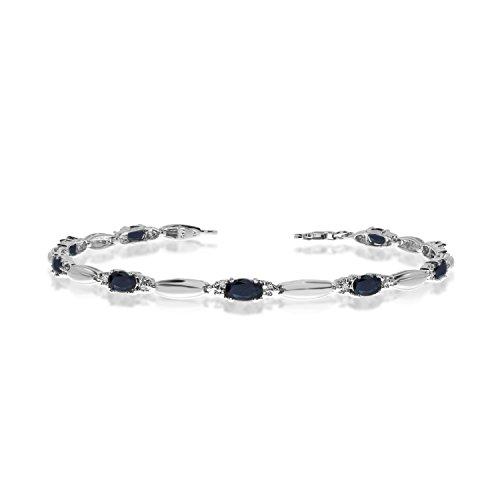 3.15 Carat (ctw) 10k White Gold Oval Blue Sapphire and Diamond Tennis Bracelet - 7