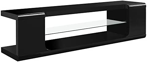 Monarch specialties , TV Console, High Glossy with Tempered Glass, Black, 60 L