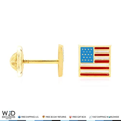 14K Solid Yellow Gold Enamel American Flag July Fourth Screwback Stud Earrings