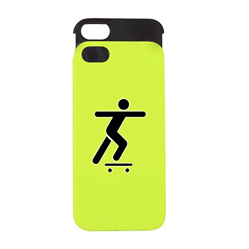 Price comparison product image iPhone 5 or 5S Wallet Case Lime and Black Skateboard Skater Traffic Symbol