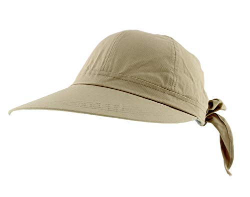 JFH Women's Classic Quintessential Sun Wide Visor Hat in Sold Bold Colors (Khaky) Khaki