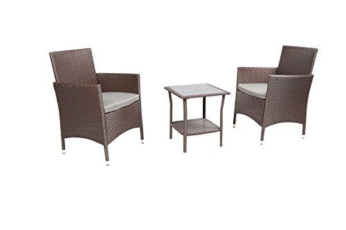 Baner Garden 3Piece Outdoor Furniture Complete Patio Wicker Rattan Conversation Set, (Q16-CH), Chocolate