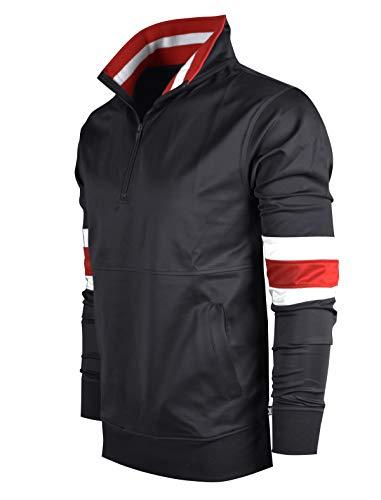 SCREENSHOTBRAND-F11856 Mens Urban Hip Hop Premium Track Jacket - Slim Fit Side Taping Pullover Fashion Top-BK/RD-Large