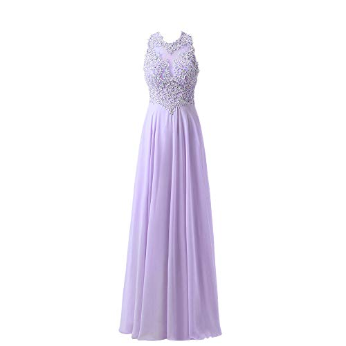 (Yangprom Gorgeous A-Line High Neck Lace Prom Dress Beading Evening Gown (18W, Pale P) )