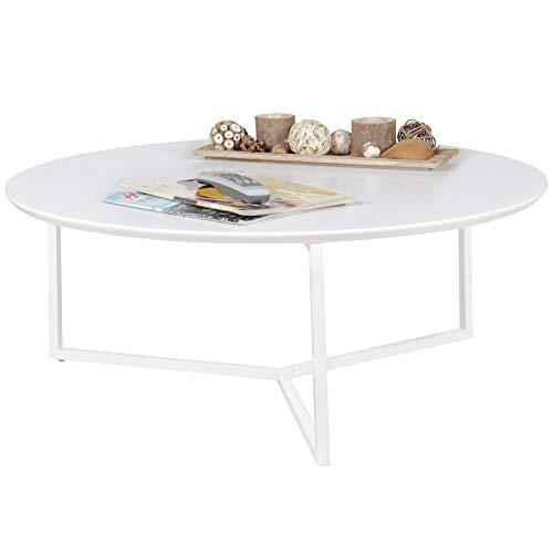 Finebuy Coffee Table White 80 X 33 X 80 Cm Metal Wood Storage