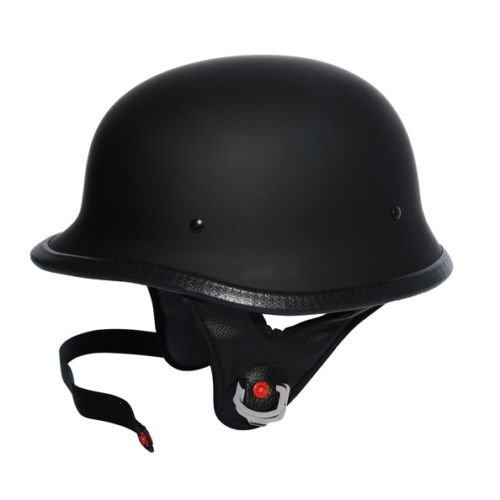 TCMT DOT German Motorcycle Open Face Helmet For Chopper Cruiser Biker (Matte Black, - Dot Rider
