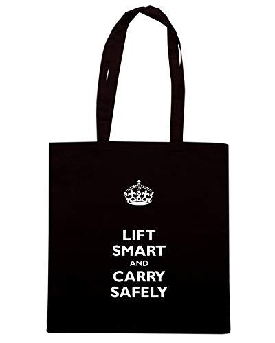 Speed Shirt Borsa Shopper Nera TKC0315 KEEP CALM AND LIFT SMART AND CARRY SAFELY