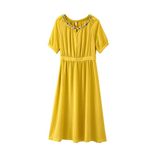 Woman Dress Female Summer Literary Embroidery Round Neck Solid color Dress Long Loose