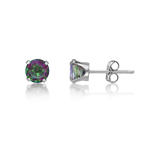 .50 cttw Round 5MM Natural Mystic Topaz 10K White Gold Stud Earrings ()