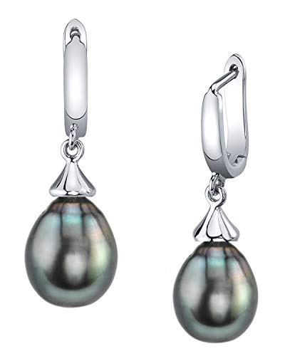 THE PEARL SOURCE 9-10mm Drop Shape Black Tahitian South Sea Cultured Pearl Elegance Earrings for Women
