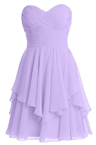 MACloth Women Short Wedding Party Bridesmaid Dress Strapless Tiered Cocktail Lavanda