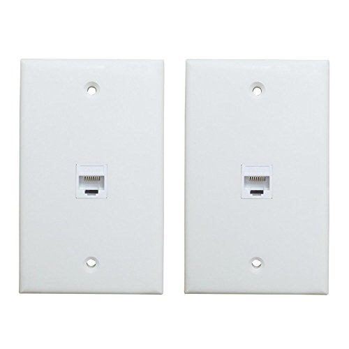 1 Port Ethernet Wall Plate - ESYLink Cat6 RJ45 Wall Plate Female to Female in White(2-Pack)