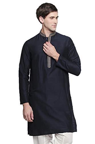 In-Sattva Men's Embroidered Classic Collar Fine Textured Indian Kurta Tunic, Navy, XL