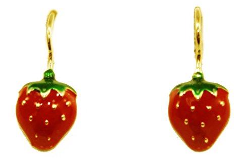 14K Yellow Gold Enamel Strawberry Design Dangle Earrings 7mm