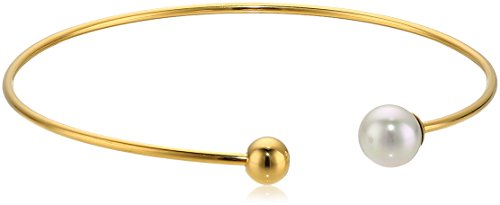 Majorica 8MM White Round Pearl Gold Plated Bangle Bracelet