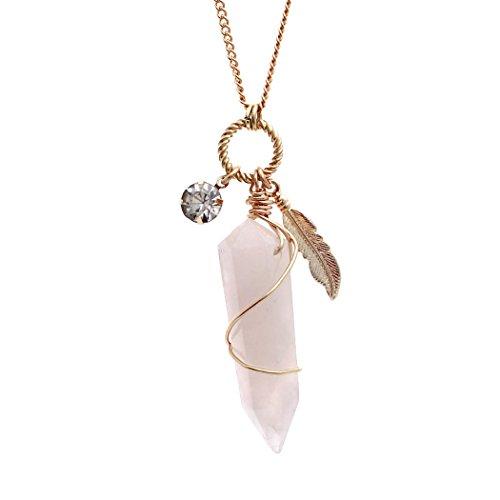 Rosemarie Collections Women's Quartz Stone Pendant Necklace (Natural)