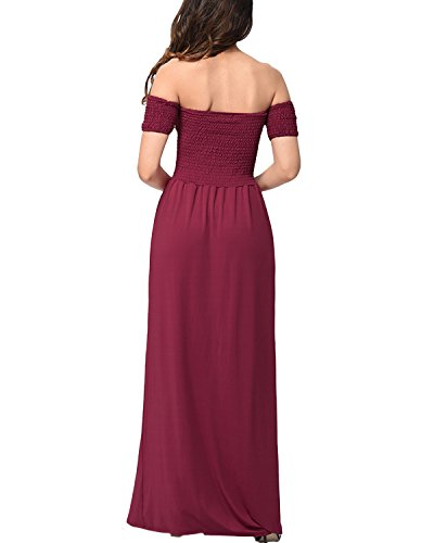 Auxo Mujer Faldas Seda Evening Dress Vestidos Largas sin Hombro Cintura Alta Novia Boda Purpúreo