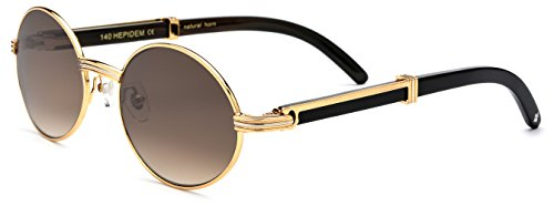Cartier Glasses (HEPIDEM Buffalo Horn Handmade Sun Glasses Round Luxury Sunglasses 0818 (Black Tea))
