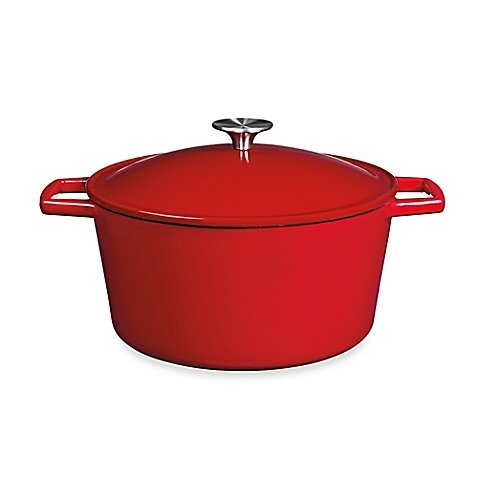 Artisanal Kitchen Supply 5 qt. Stylishly Chic Durable Sturdy Enameled Cast Iron Dutch Oven Casseroles in Red, Pre-Seasoned, Compatible With All Stove Types Like Induction And BBQ Grills by Artisanal Kitchen Supply