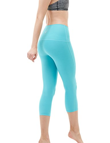 "TM-FYP32-AQA_Medium Tesla Women's Yoga 21""Capri High-Waist Tummy Control Pants w Pocket FYP32 …"