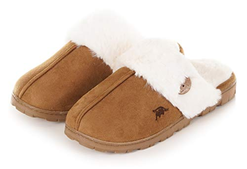 Womens 80-D Memory Foam Slippers Slip On Faux Fur Warm Winter Mules Fluffy Micro Suede Breathable Washable Indoor/Outdoor House Shoe w/Anti Slip Sole Camel