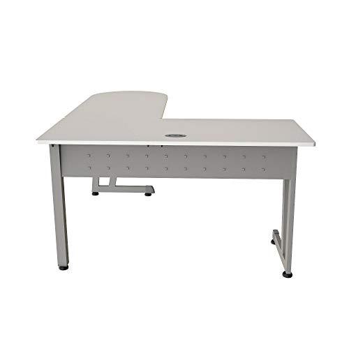 Linea Italia ZUS120S, 5″, 72″ W x 23.7″ D x 29.5″ H, White/Silver Workstation Corner