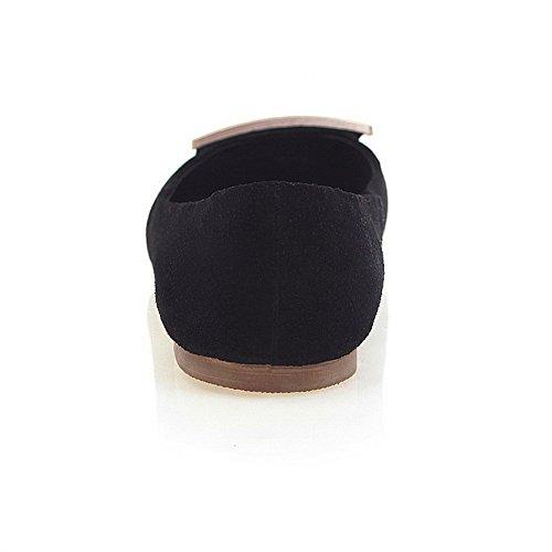 Scarpe Da Donna Con Punta Arrotondata, Senza Tacco, Con Suola Antiscivolo E Ornamento In Metallo Nero Amoonyfashion