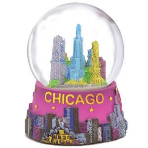 Chicago Snow Globe 45mm 2.5 Inch Purple Chicago Snow Globes from Chicago Souvenirs Collection City-Souvenirs 904954