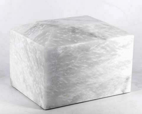 Khan Imports White Marble Urn Vault for Ashes, Adult Stone Cremation Urn Box - ()