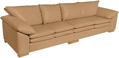Omnia Leather Fargo 4 Cushion Sofa in Leather, Standard No Nail Head, Softstations Mica