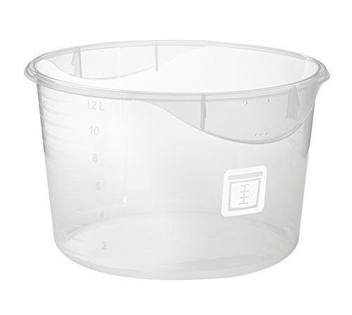 Rubbermaid Commercial Products 1981131 Round Plastic Food Storage Container, White Label, 12 Quart, Clear