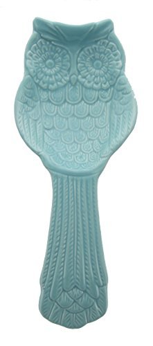 Whimsical Aqua Ceramic Owl Cooking Spoon Rest by World Market