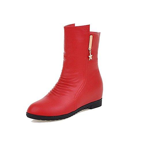 AllhqFashion Damen Reißverschluss PU Mittler Absatz Rund Zehe Stiefel, Rot, 35