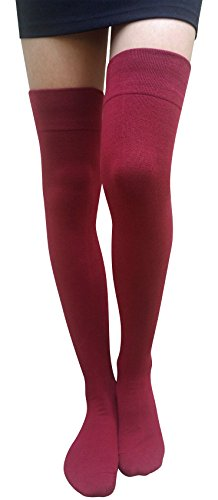 AM Landen Cotton Thigh High Socks Over Knee High Socks Leg Warmer Elegant Sexy Stockings (Large: Extra Long and Wide Version, Burgundy)