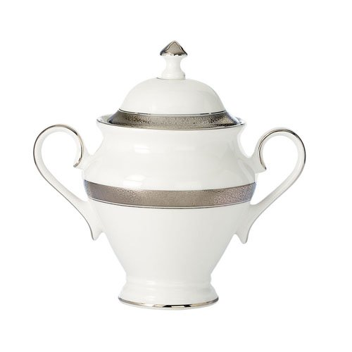 Waterford China New Grange Platinum Covered Sugar (Waterford Dish Covered)