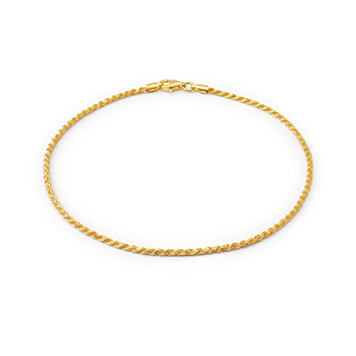 Simple Plain Rope Chain Anklet Charm Ankle Bracelet For Women 14K Gold Plated 925 Sterling Silver 50 Gauge Made Italy