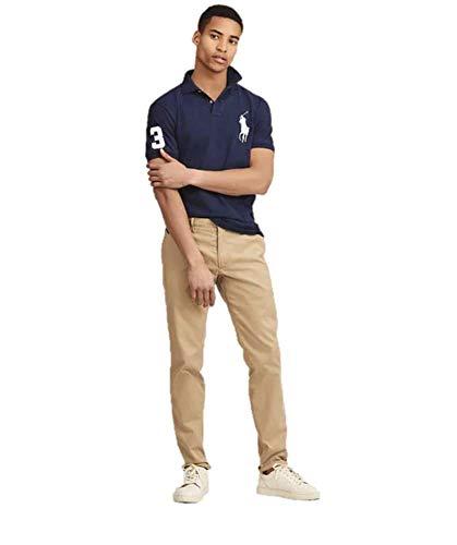 (Polo Ralph Lauren Mens Big Pony Custom-Fit Blue Polo Shirt,)