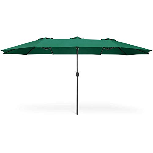 AK Energy 15' Green Double Sided Twin Patio Market Umbrella Wide Outdoor Canopy Hand Crank 8 Ribs (Astonica Patio Umbrella)