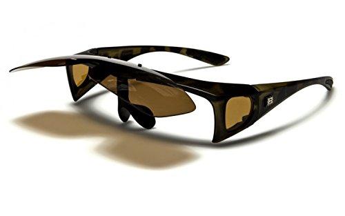 Polarisierte fitover Sonnenbrille NEU klappbare Gläser Überbrille für Brillenträger (Matt Schwarz / Smoke) U8AwdCQNSe
