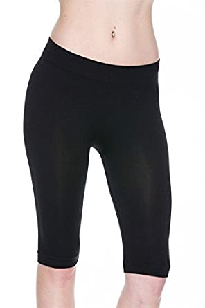 10e24b49fdc812 BLACK - Knee Length Seamless Stretch Yoga Shorts Capri Legging Basic  Stretch Mid-Length Short