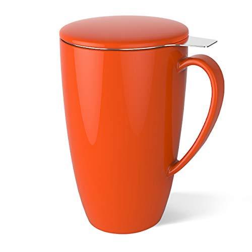 - Sweese 2105 Porcelain Tea Mug with Infuser and Lid, 15 OZ, Orange