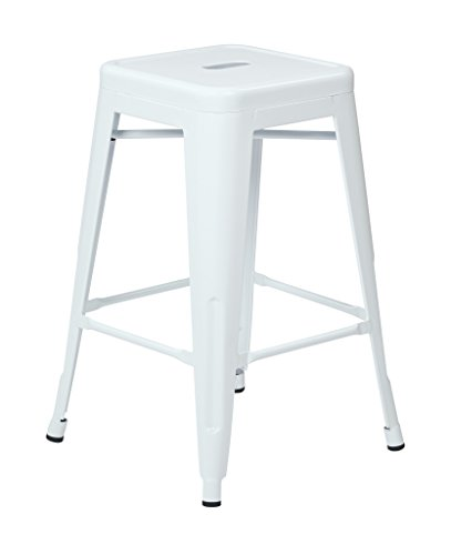 OSP Designs Patterson 24-inch Metal Backless Barstool, White, 4-Pack