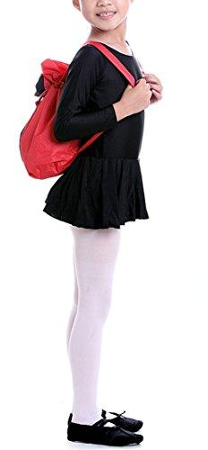 FakeFace Kinder Ballerina Rucksack Ballettrucksack Wasserdicht mit Verstellbaren Schutergurten Turnbeutel Sport Beutel Schultertasche (Blau + Schwarz) Rot