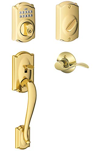 Schlage FE365-CAM-ACC-LH Left Handed Camelot Electronic Handleset with Accent Le, Lifetime Polished Brass ()
