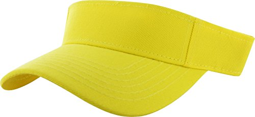 DealStock Plain Men Women Sport Sun Visor One Size Adjustable Cap (29+ Colors) Yellow