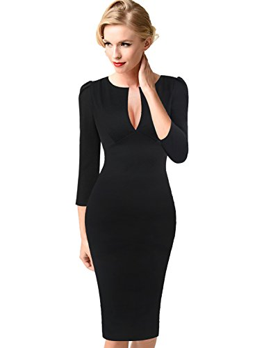 VfEmage Womens Sexy Elegant Deep V-Neck Party Cocktail Bodycon Dress 9049 BLK 16 by VfEmage