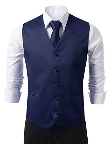Vest Loop Skinny Marine Knoepproof Hanky Tie V Uomo Slim Elegante con Gilet Fit E Collo Da Smoking Suit 5 45jARL