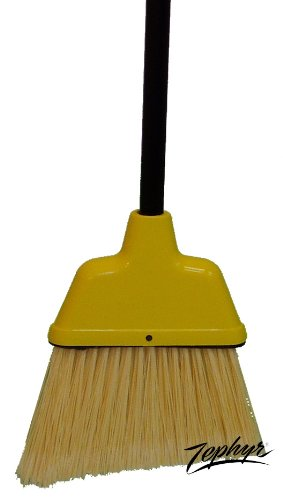 Zephyr 9075 Small Angle Broom with Plastic Handle, 9'' Head Width, 52'' Overall Length, Yellow (Case of 12) by Zephyr (Image #1)